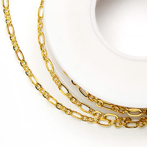 Luxury Gold-Plated Small 2x4.5mm 3-and-1 Cable Chain (per 25-foot spool)