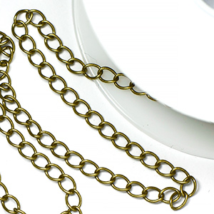 Antique Brass Plated Classic Curb Chain (25 ft spool)