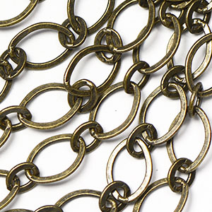 Antique Brass Plated 6x9mm Smooth Flat 1-and-1 Chain Sold by the foot