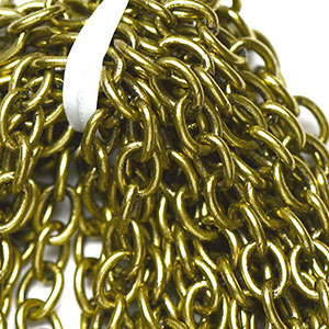 Antique Brass 5x7mm Soldered Oval Cable Chain (per 25-foot Hank)