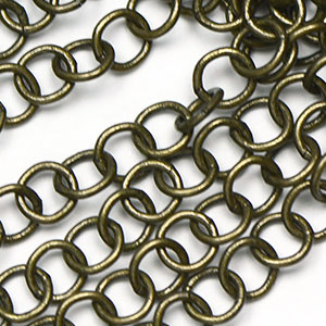 Antique Brass Handmade  Round Chain Sold by the Foot