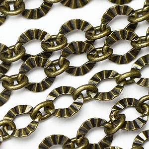 Antique Brass Plate  1-to-1 6x5.5mm Crinkle Link Chain sold by the foot