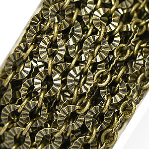 Antique Brass Crinkle 1 to 1 Link Chain