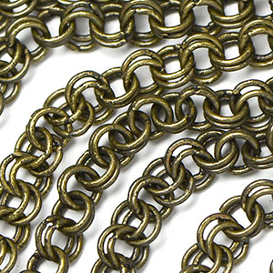 Antique Brass 4mm Double Cable Chain sold by the foot