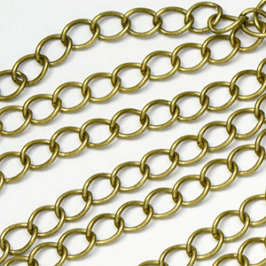 Antique Brass Plated Classic Curb Chain Sold by the Foot