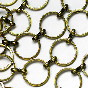 Antique Brass 12MM Round Flat Link Chain by the foot