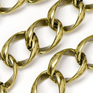 Antique Brass Jumbo Curb Chain sold by the Foot