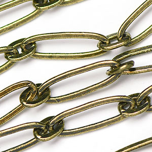 Antique Brass 18MM Long and Short Flat Oval Link Chain by the foot