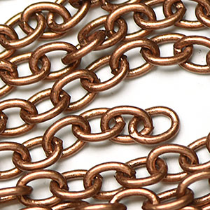 Antique Copper Plated 5x7mm Oval Cable Chain sold by the foot