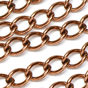 Antique Copper Medium Curb Chain sold by the foot