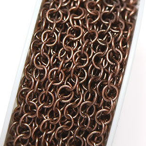 Antique Copper Round Link Chain (per 25-foot section)