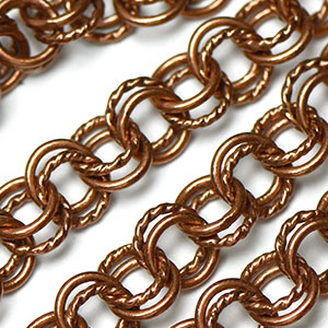 Antique Copper 7mm Semi-Textured Double Cable Chain sold by the foot