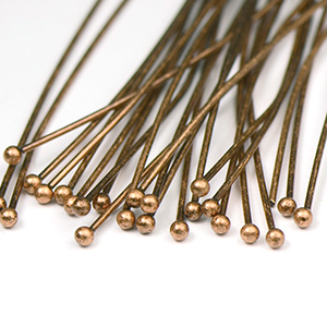 Antique Copper Plated Ball End Headpin 2 in. (25/pkg)