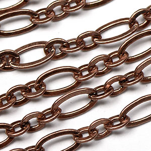 Antique Copper 3.5x6.5mm Medium 3-and-1 Cable Chain sold by the foot