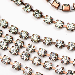 Antique Copper/3mm-Crystal Rhinestone Chain Sold by the foot