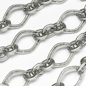 Antique Silver Ox 3 and 1  Rounded Diamond Link Chain by the Foot
