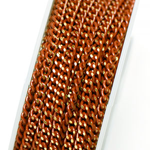 Colored Brass Warm Coral 2.75x2mm Filed Curb Chain (per 25-foot Spool)