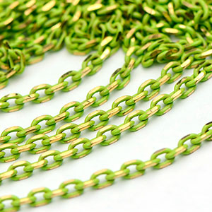 Colored Brass Lime Filed Cable Chain Sold by the foot