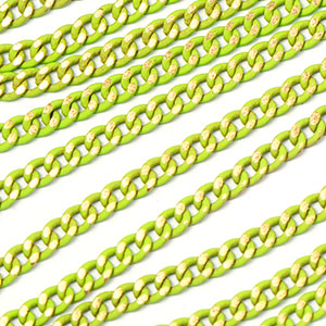 Colored Brass Lime 2.75x2mm Filed Curb Chain Sold by the foot