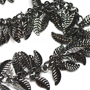 Gunmetal Black Plate Fancy Leaf Chain Sold by the Foot