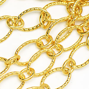 Luxury Gold-Plated 6x9mm Textured Flat Oval 1-to-1 Cable Chain Sold by the foot