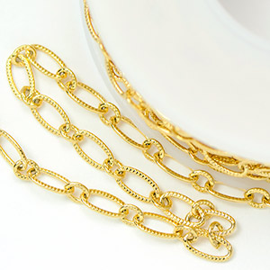 Luxury Gold-Plated 3x6.5mm Patterned Elongated Flat Cable Chain (per 25-foot Spool)