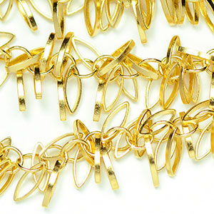 Luxury Satin Gold Fancy Marquis Fringe Chain by the Foot