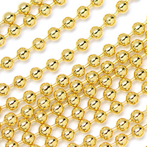 Luxury Gold Plated 2.4mm Bead Ball Chain sold by the foot