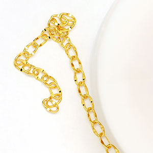 Luxury Gold-Plated 4x2mm Delicate Dapped Cable Chain (per 25-foot Spool)