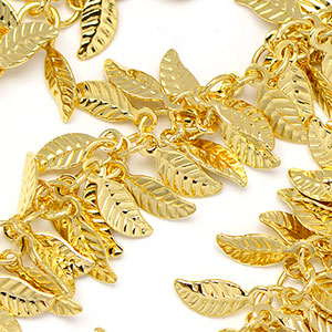Luxury Gold Plate Fancy Leaf Fringe Chain sold by the foot