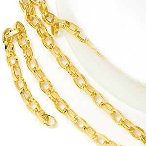 Luxury Gold Plate 4.5x3x1mm Long Rollo Chain (per 25-foot spool)