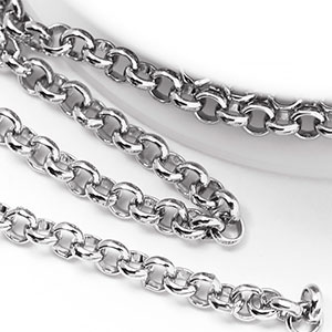 Pure Rhodium 3.5mm Rolo Chain (per 25-foot spool/hank)