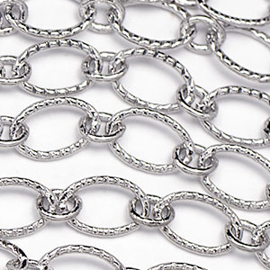 Luxury Rhodium Plated 6x9mm Bright Textured Flat Oval 1-to-1 Cable Chain Sold by the foot
