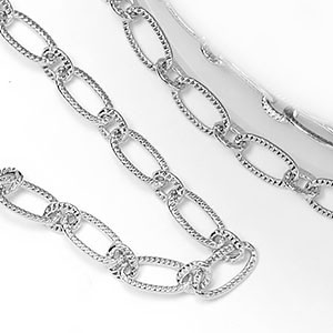 Pure Rhodium Plated 3x6.5mm Patterned Elongated Flat Cable Chain (per 25-foot Spool)