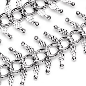 Luxury Pure Rhodium Textured Fishbone Chain sold by the  foot