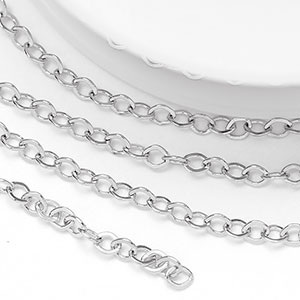 Pure Rhodium Plated 2.25x1.75mm Tiny Flat Cable Chain (per 25-foot spool)