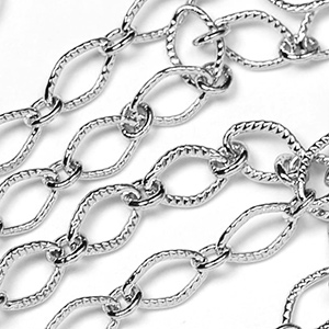 Luxury Rhodium Plated Textured Diamond Link sold by the Foot