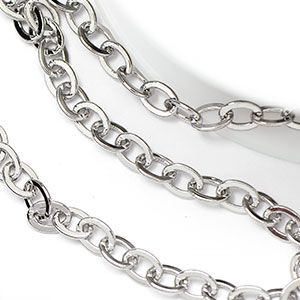 Pure Rhodium Plated 4x5mm Flat Oval Cable Chain (per 25-foot spool)