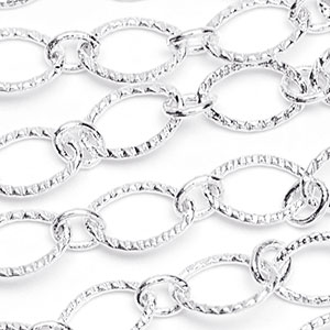 Silver-Plated 6x9mm Bright Textured Flat Oval 1-to-1 Cable Chain Sold by the foot