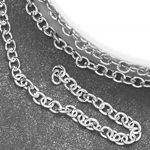 Silver Plated Small  Plain Cable Chain (per 25-foot spool)