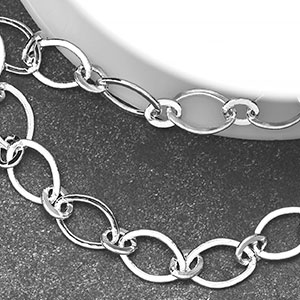 Silver-Plated 6x9mm Smooth Flat 1-and-1 Chain (per 25ft Spool)