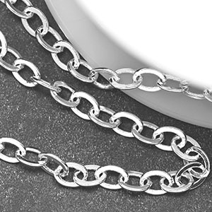 Silver-Plated 4x5mm Flat Oval Cable Chain (Per 25-foot spool)