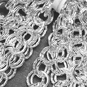 Silver-Plated 7mm Semi-Textured Double Cable Chain (per 25-foot hank)