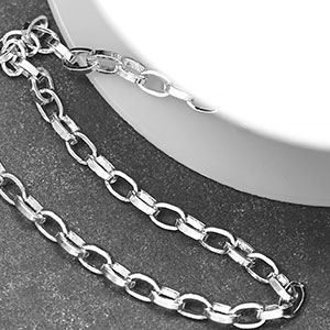 Silver-Plated 4.5x3x1mm Long Rollo Chain (per 25-foot spool)