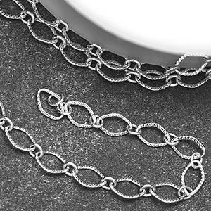 Silver Plate Textured Diamond Link (25ft spool)