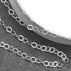 Silver-Plated 2.25x1.75mm Tiny Flat Cable Chain (per 25-foot spool)