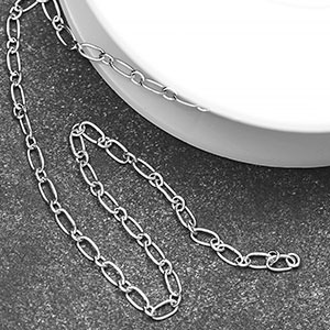 Silver Plated Tiny Long and Short Link  Chain (25ft spool)
