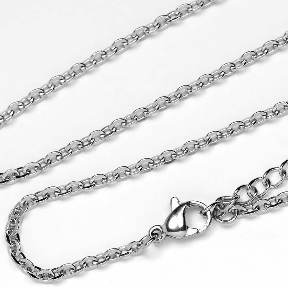 stainless steel finished flat link necklace chain 18. Black Bedroom Furniture Sets. Home Design Ideas