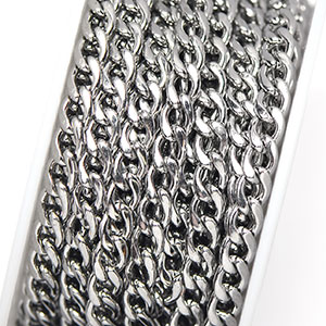 Stainless Steel 4.5x6mm Medium Curb Chain (per 25-foot spool/hank)