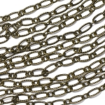 Antique Brass 3x6.5mm Patterned Elongated Flat Cable Chain Sold by the foot